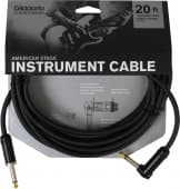 6.10m D'Addario Planet Waves PW-AMSGRA-20 American Stage Instrument Cable (Angle Jack)