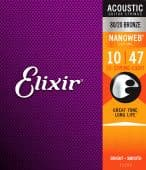 10-47 Elixir 11152 Nanoweb with Anti-Rust Plain Steels 80/20 Bronze Light 12-String