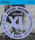11-52 D'Addario EXL116 Nickel Wound MED TOP/HEAVY BTM