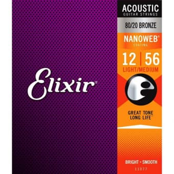 12-56 Elixir 11077 Nanoweb with Anti-Rust Plain Steels 80/20 Bronze Light-Medium