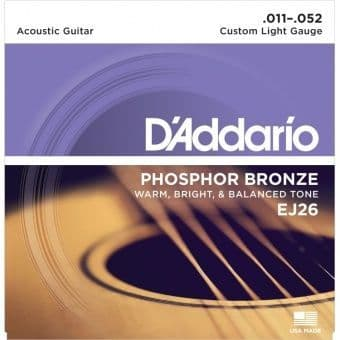 11-52 D'Addario EJ26 Phosphor Bronze Custom Light Gauge