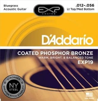 12-56 D'Addario EXP19 Coated Phosphor Bronze Lt Top/Med Bottom