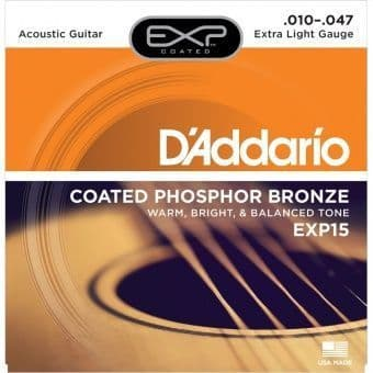 10-47 D'Addario EXP15 Coated Phosphor Bronze Extra Light Gauge