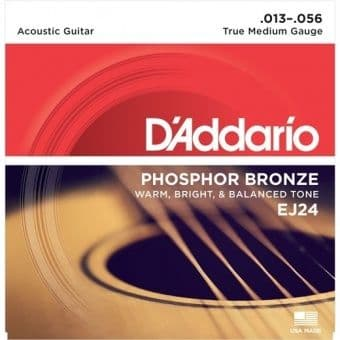 13-56 D'Addario EJ24 Phosphor Bronze True Medium Gauge